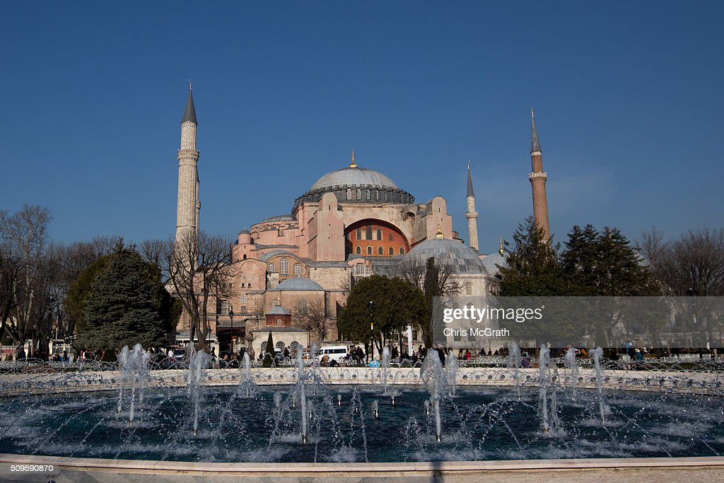 The Hagia Sophia Museum is seen on February 11, 2016 in Istanbul, Turkey. The Hagia Sophia (Ayasofya) Museum is one of the most visited tourist attractions in Turkey, with more than 3 million visitors per year. Constructed in 537 the museum originally served as an Orthodox Cathedral, later a Roman Catholic church and was converted into a mosque when Constantinople was conquered by the Ottoman Turks in 1453. In 1935 it was opened as a museum by the Republic of Turkey. The museum is currently undergoing restoration on various parts of the interior.