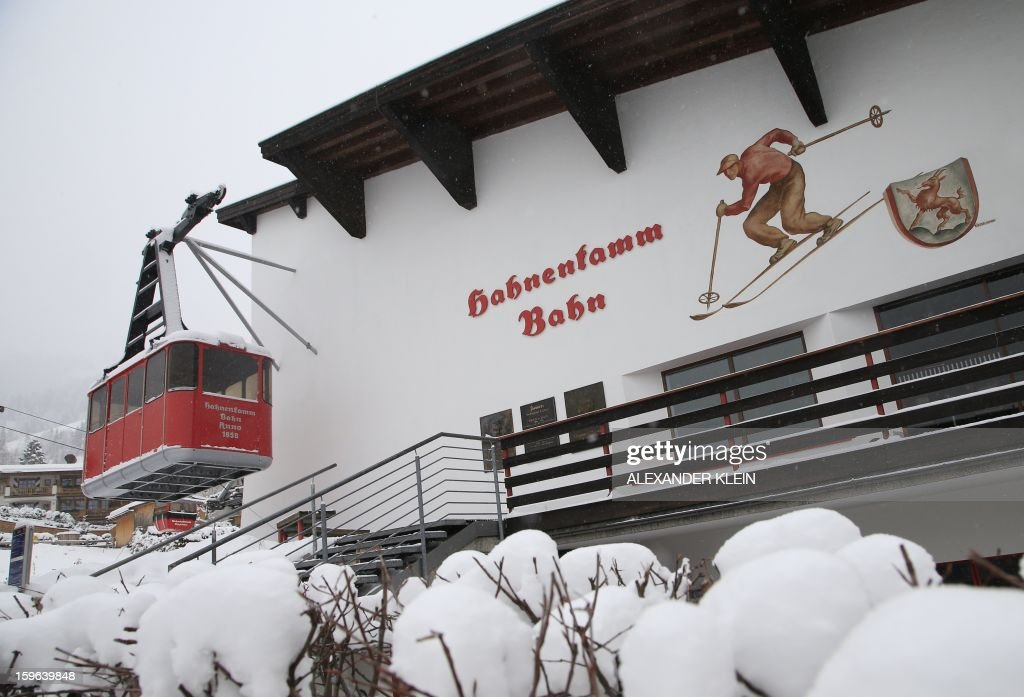 The Hahnenkamm bahn (cable car lift) is seen during a snowy day in Kitzbuhel January 17, 2013. Kitzbuhel will host the 73rd edition of the Kitzbuhel Hahnenkamm ski race from January 22, to January 27, 2013, as part of the 2013 FIS Ski World Cup.