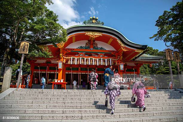 The haiden architecture the hall of worship or oratory in Shinto shrine Fushimi Inari Taisha is the head shrine of Inari located in Fushimiku Kyoto...