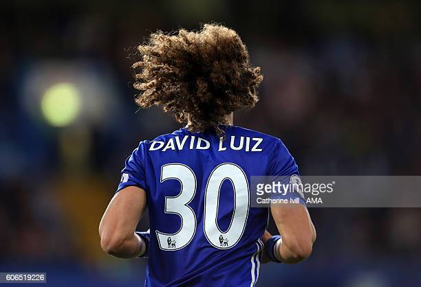 The hair and number 30 on the back of the shirt of David Luiz of Chelsea during the Premier League match between Chelsea and Liverpool at Stamford...
