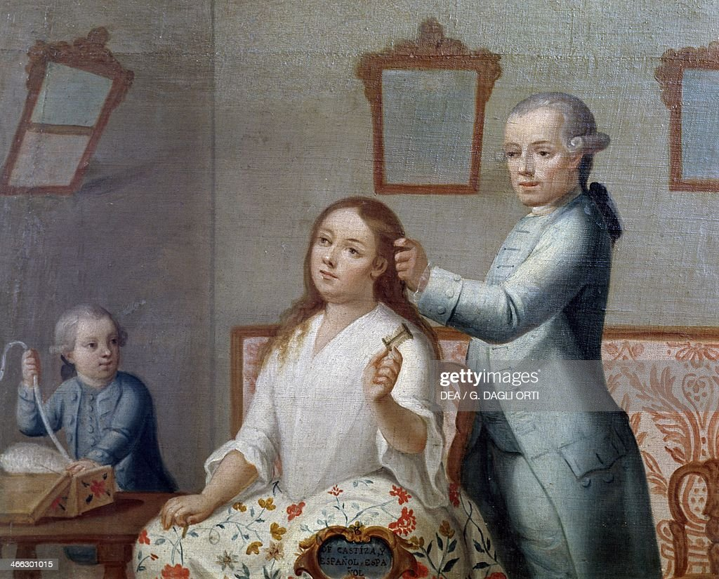 The hairdresser painting Mexico 18th century