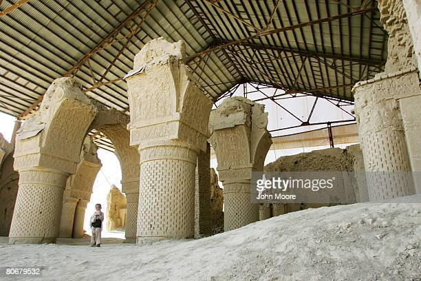 The Haje Piada mosque sits protected under a roof built by the French Archaeological Delegation in Afghanistan on October 12 2006 near Balkh...