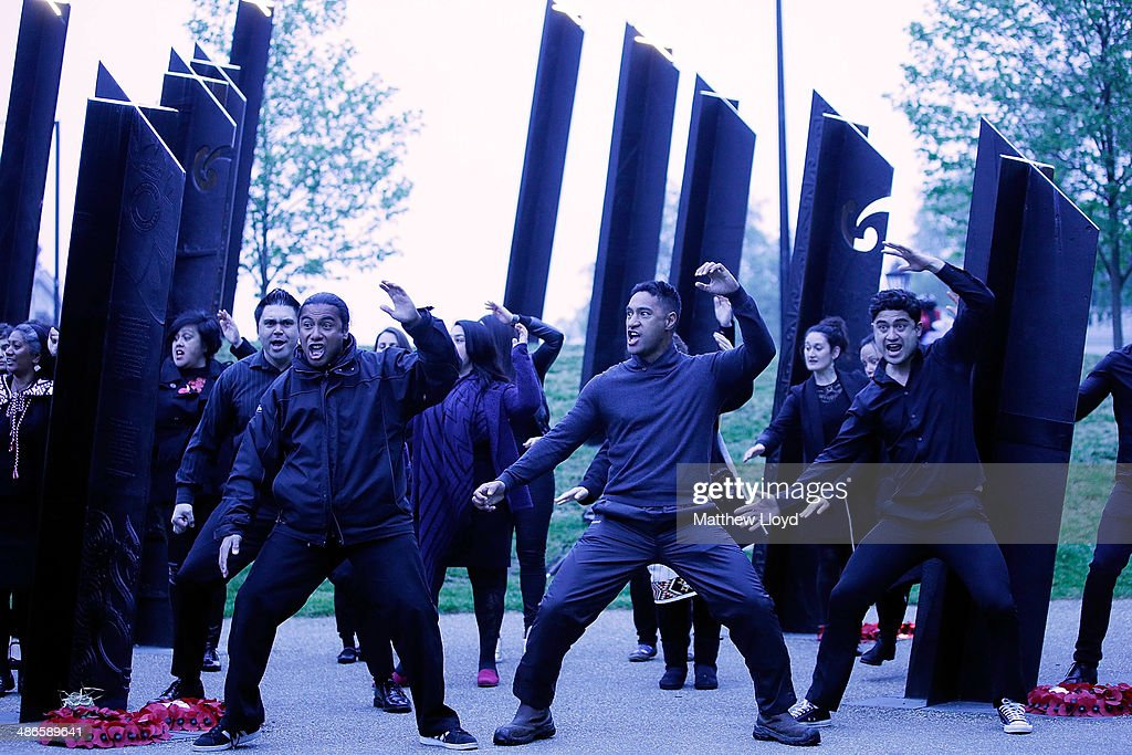 The Haka is performed in front of the New Zealand War Memorial during a dawn remembrance service at the Wellington Arch on ANZAC Day at Hyde Park on April 25, 2014 in London, England. It is the 99th anniversary of the Galipoli landings in which tens of thousands of servicemen died.