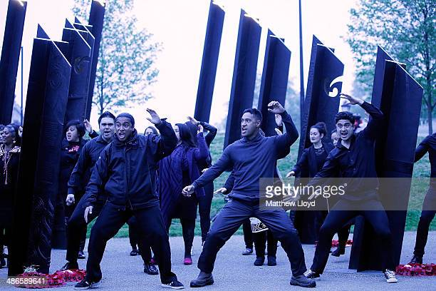 The Haka is performed in front of the New Zealand War Memorial during a dawn remembrance service at the Wellington Arch on ANZAC Day at Hyde Park on...