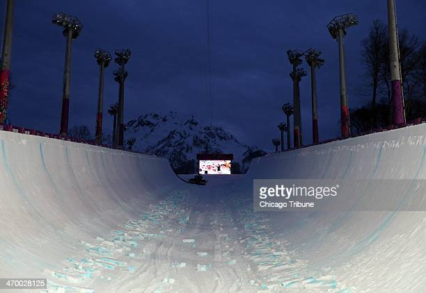 The half pipe is empty between competitions at Rosa Khutor Extreme Park during the Winter Olympics in Sochi Russia Monday Feb 17 2014