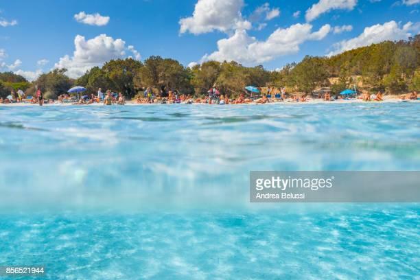 The half underwater view of Capriccioli beach, Arzachena Costa Smeralda, Olbia-Tempio province, Sardinia district, Italy