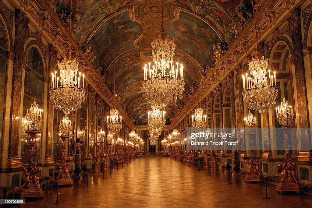 The Hall of Mirrors at Chateau de Versailles is seen within the gala dinner of professor David Khayat's Association 'AVEC' on February 4, 2013 in Versailles, France.