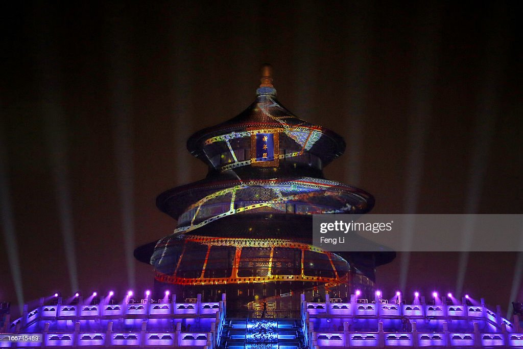 The Hall of Prayer for Good Harvest is illuminated during a light show for the opening ceremony of the 3rd Beijing International Film Festival at the Temple of Heaven Park on April 16, 2013 in Beijing, China. Over 1,300 film works from 63 countries and regions will be brought to Beijing International Film Festival.
