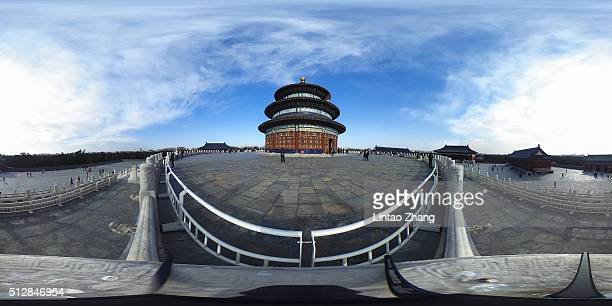 The Hall of Prayer for Good Harvests stands at the Temple of Heaven on February 28 2016 in Beijing China According to records over a period of some...