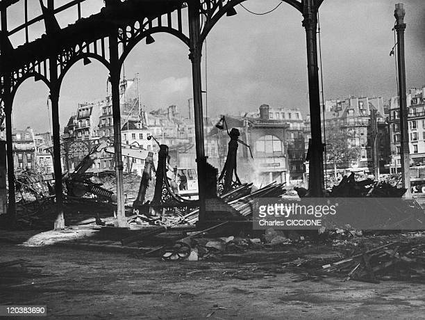 The Halles Demolition Of The Covered Market In Paris France In 1970 Beaubourg Les Halles the covered market demolished