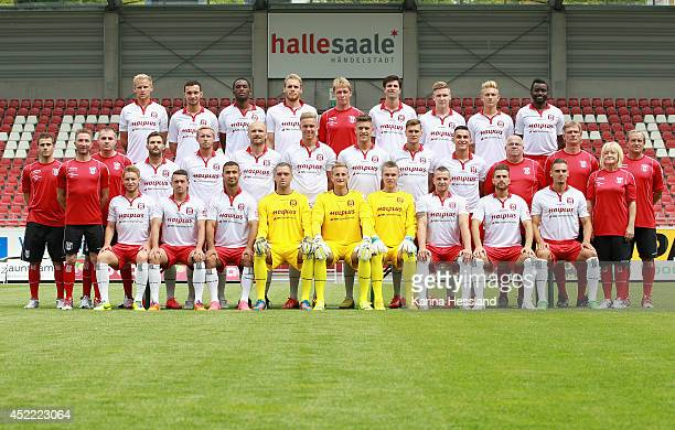 The Hallescher FC Team pose for a photo back row Soeren Bertram Daniel Ziebig Osayamen Osawe Timo Furuholm Headcoach Sven Koehler Tim Kruse Alexander...