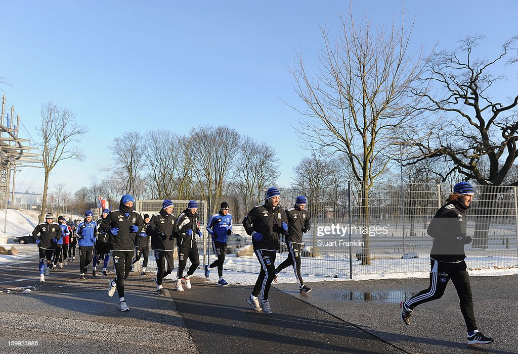 The hamburg players go running during a training session of Hamburg SV on January 23, 2013 in Hamburg, Germany.