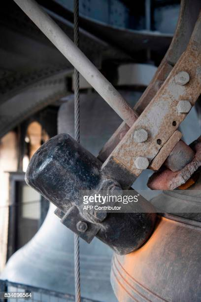The hammer on one of the four smaller bells surrounding the Big Ben bell which will be removed and cleaned during the planned renovation work on the...