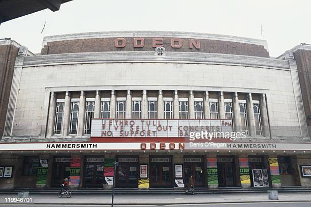 The Hammersmith Odeon entertainment venue in Hammersmith west London April 1980 A five night run by Jethro Tull is advertised above the doors