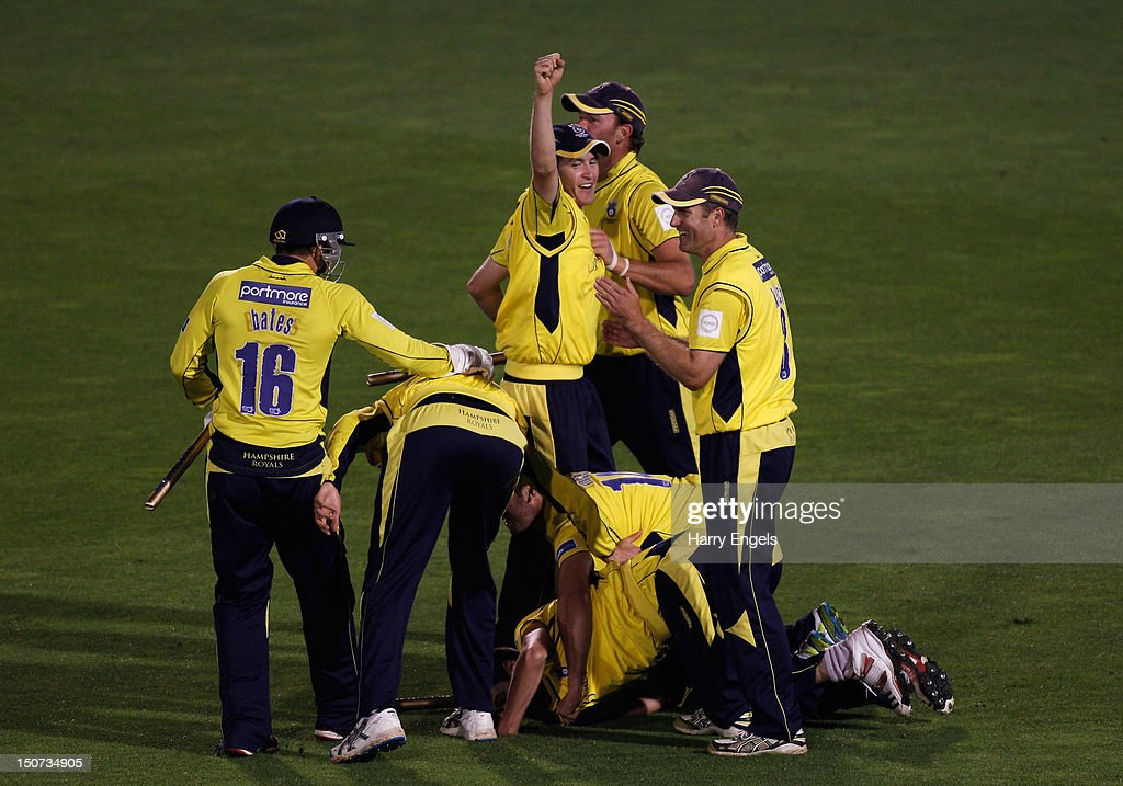 The Hampshire team celebrate winning the Friends Life T20 Final between Hampshire and Yorkshire at the SWALEC Stadium on August 25, 2012 in Cardiff, Wales.