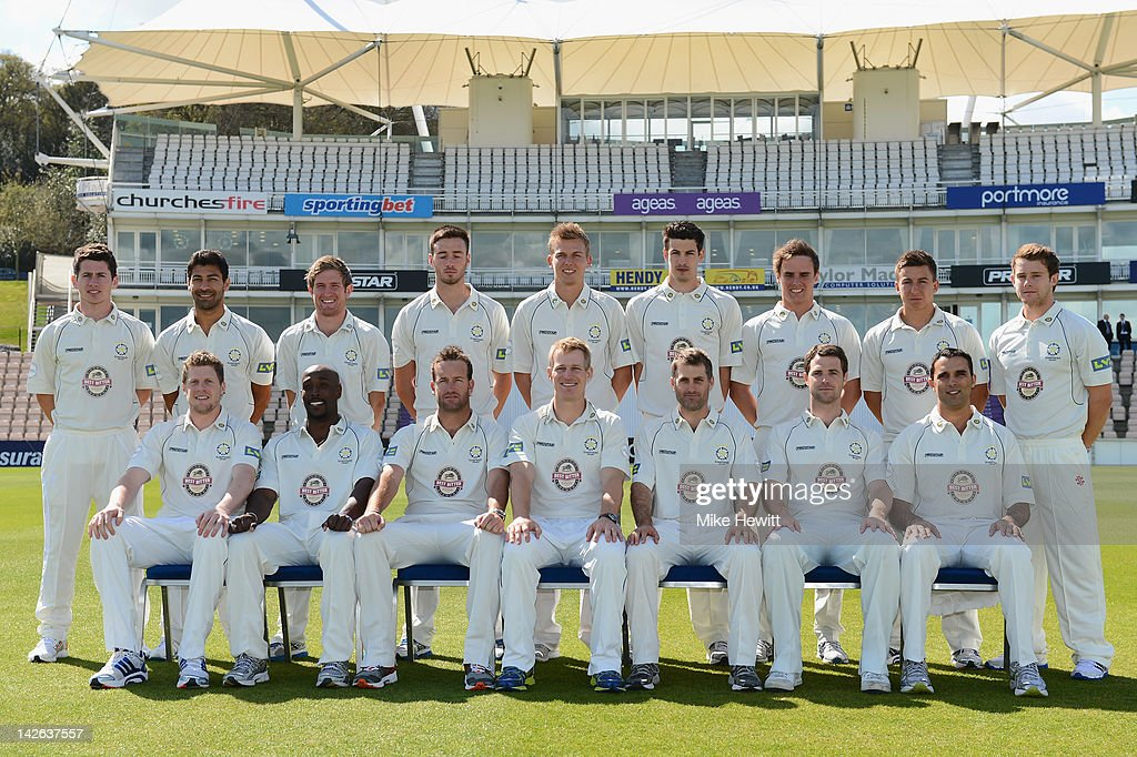 The Hampshire team pose for a team photo during the Hampshire CCC Photocall at the Rosebowl on April 10, 2012 in Southampton, England.