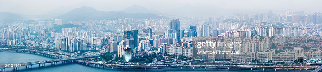 The Han (Hangang) river and the town near Mapo Bridge from the Viewpoint of 63 City Building (63 Sky Art Gallery)
