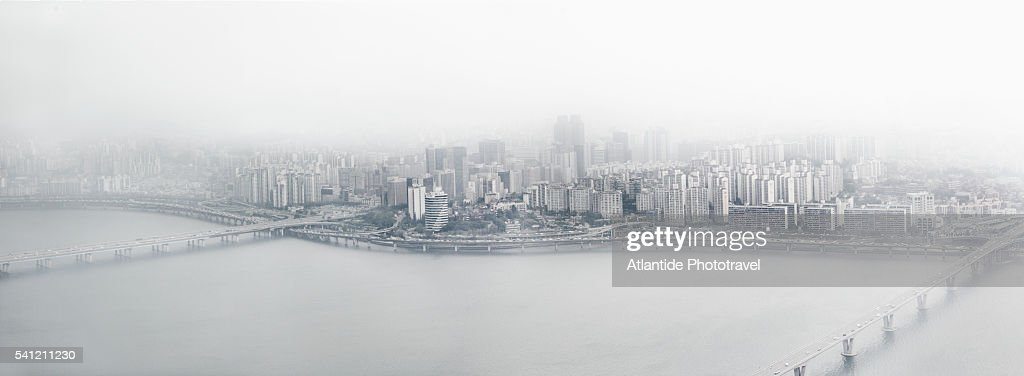 The Han (Hangang) river, the Mapo Bridge, Wonhyo Bridge and the town from the Viewpoint of 63 City Building (63 Sky Art Gallery)