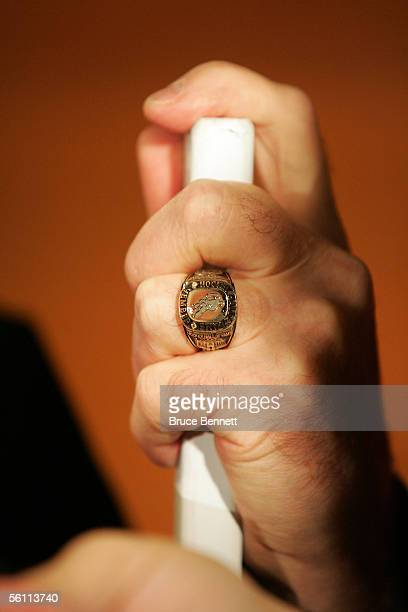 The hand of Murray Costello who was inducted into the Hockey Hall of Fame shows off his Hall of Fame ring during the preinduction photo opportunity...