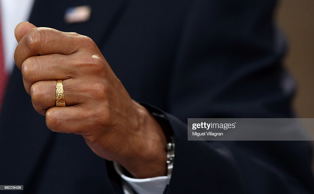 The hand of U.S. President Barack Obama is pictured during a news conference on June 5, 2009 in Dresden, Germany. Obama will visit Buchenwald, a former Nazi concentration camp, later today.