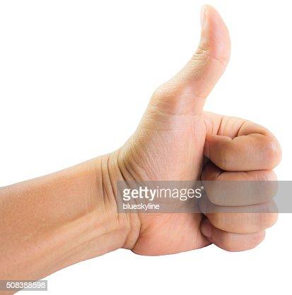 Der Hand zeigt Daumen hoch : Stock-Foto