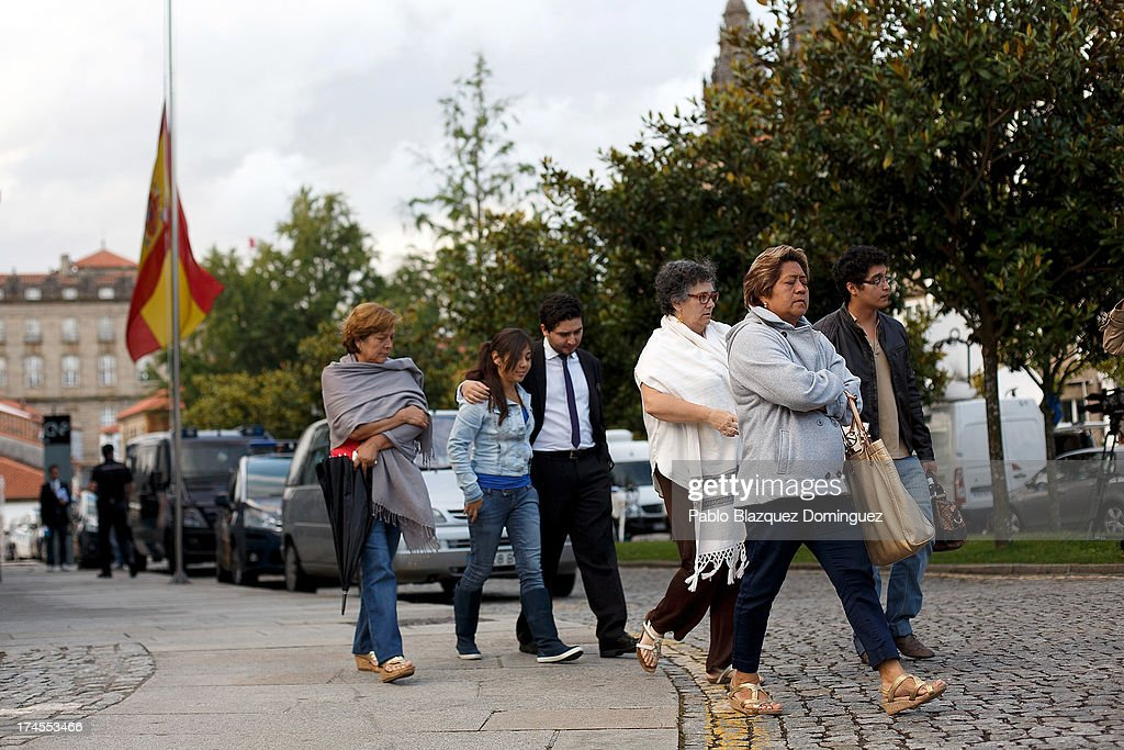 The handbag of Yolanda Delfin Ortega from Veracruz, a Mexican victim of the train crash in Santiago, is collected by her boyfriend (R), accompanied by her mother (2nd R) and friends, from a police station on July 27, 2013 in Santiago de Compostela, Spain. The crash occurred as the train approached the north-western Spanish city of Santiago de Compostela at 8.40pm on July 24th, at least 78 people have died and a further 131 reported injured. The crash occurred on the eve of the Santiago de Compostela Festivities.The driver has been formally accused of reckless homicide and remains in custody awaiting an appearance in court.