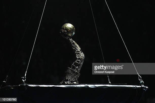 The handball champions league trophy is seen before the handball final match between THW Kiel and FC Barcelona Borges at the Lanxess Arena on May 30...