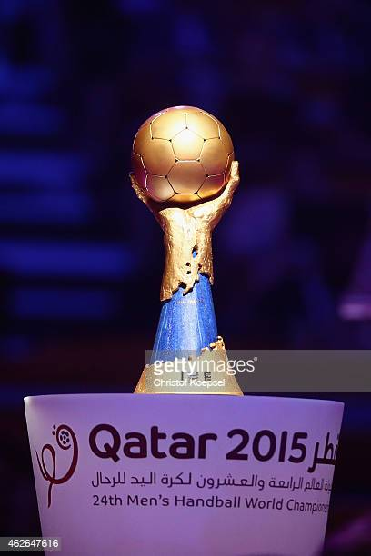 The Handball World Cup trophy is seen during the podium after the final match between Qatar and France in the Men's Handball World Championship at...