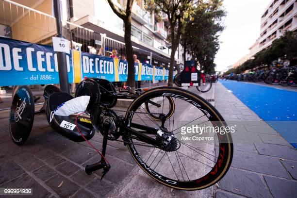 The handbike of former Formula One driver and paracyclist Alex Zanardi is seen in the bike park ahead of Ironman 703 Italy race on June 17 2017 in...