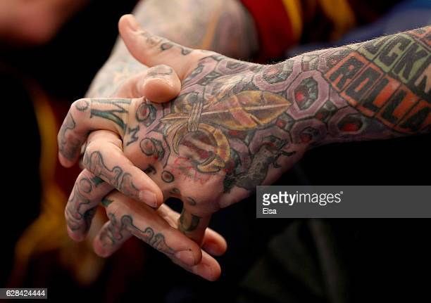 The hands of Chris Andersen of the Cleveland Cavaliers as he sits on the bench in the second quarter against the New York Knicks at Madison Square...