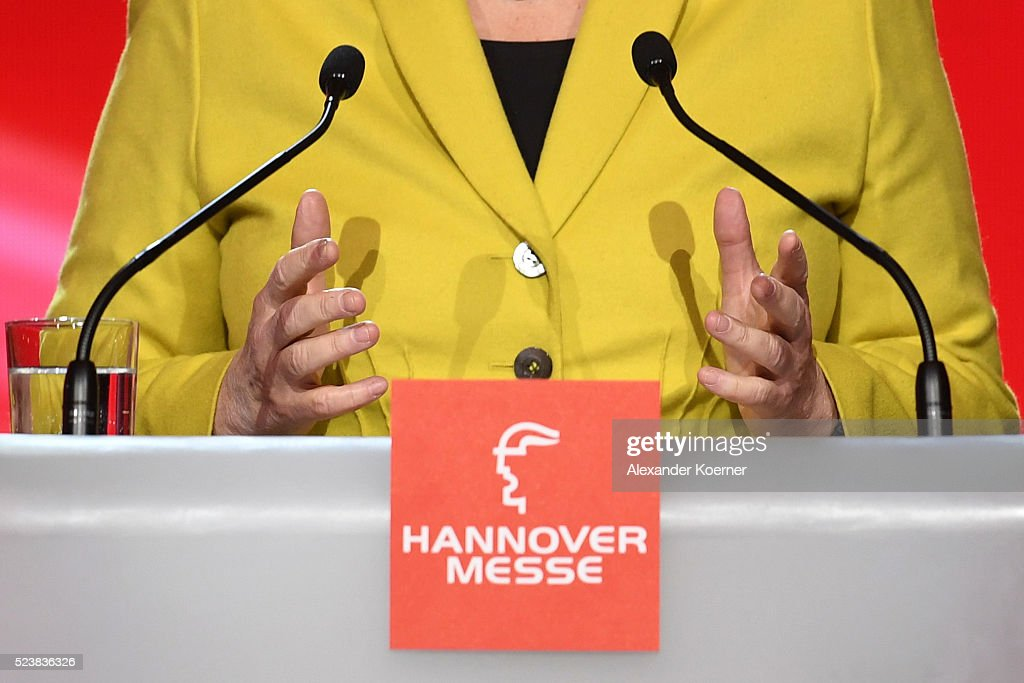 The hands of German Chancellor Angela Merkel gesture as she speaks at the opening evening of the Hannover Messe trade fair on April 24, 2016 in Hanover, Germany. Obama met with German Chancellor Angela Merkel in Hanover earlier in the day and is scheduled to tour exhibition halls at the fair tomorrow. Hannover Messe is the world's largest industrial trade fair.