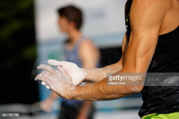The Hands of Moritz Hans of Germany are seen during the Qualification of the IFSC Climbing World Cup Munich on August 18 2017 in Munich Germany