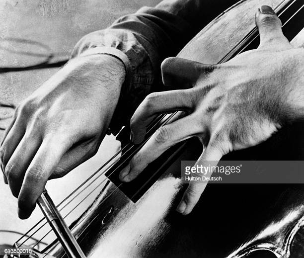 The hands of Mstislav Rostropovich as he plays the cello