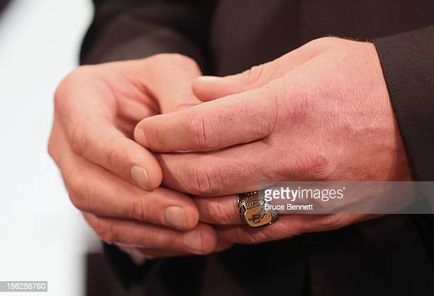 The hands of Pavel Bure show off his Hall of Fame ring at the Hockey Hall of Fame on November 12 2012 in Toronto Canada Bure and three other former...