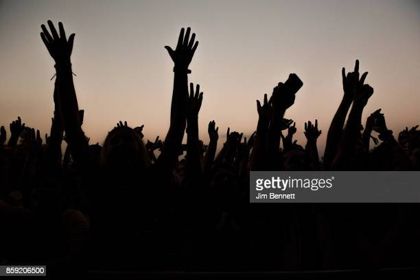 The hands of people in the crowd anticipate Portugal The Man taking the stage during Austin City Limits Festival at Zilker Park on October 8 2017 in...