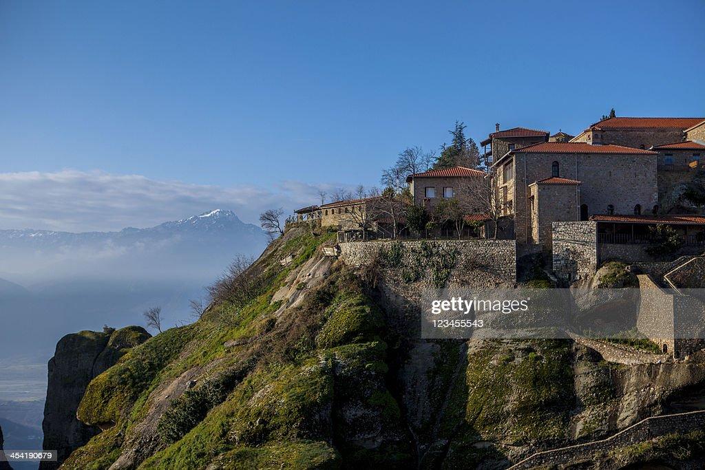 the hanging Monastery Meteora Greece : Stock Photo
