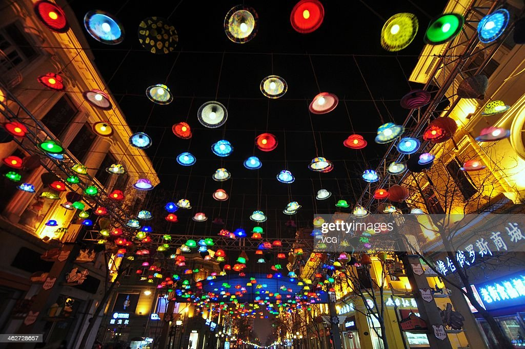 The Harbin Central Street is illuminated on January 14, 2014 in Harbin, China. Chinese people are preparing for the Spring Festival, the year of horse, which will fall on January 31 according to Chinese calendar.