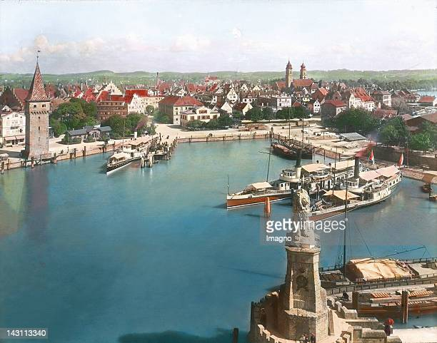 The Harbor in Lindau Bodensee District Schwaben Bavaria Handcolored lantern slide around 1900