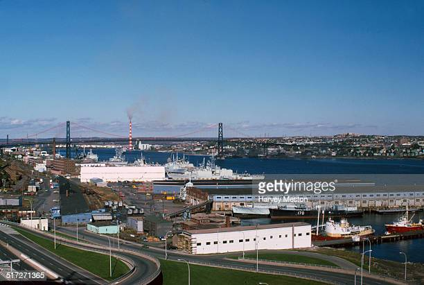 The harbour at Halifax Nova Scotia Canada with the Angus L Macdonald Bridge in the background 1974