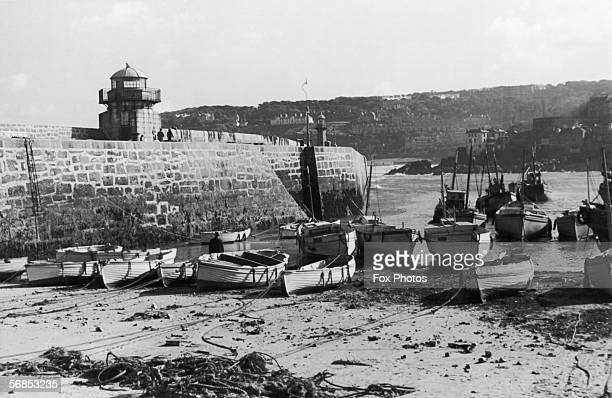 The harbour at St Ives Cornwall during low tide circa 1930