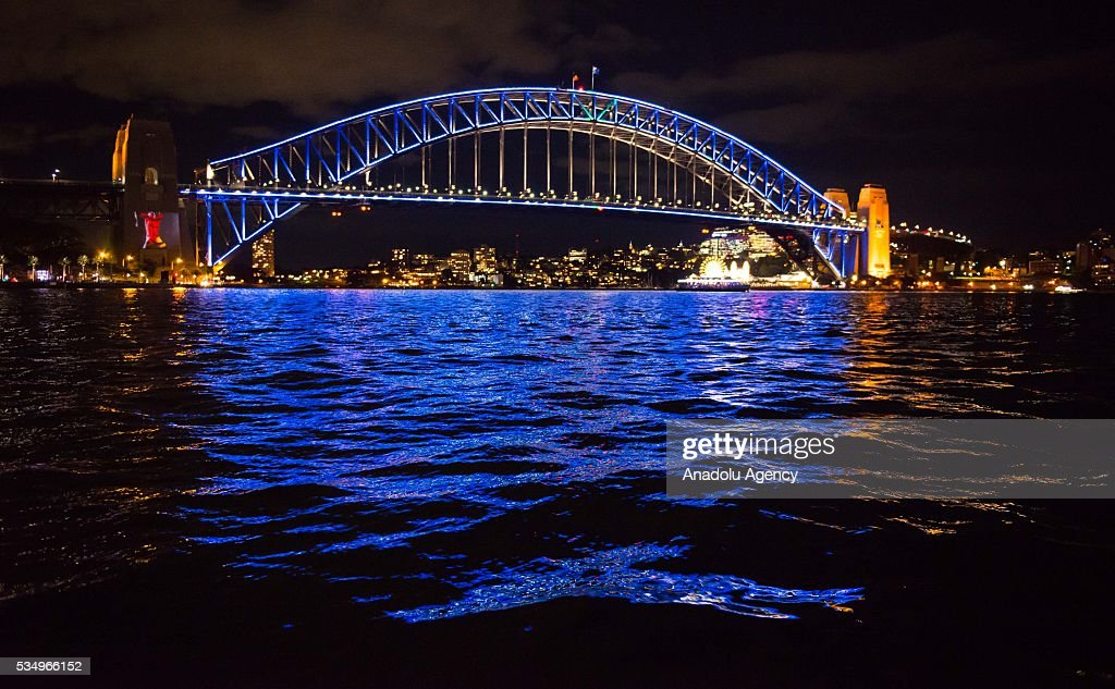The Harbour Bridge is being illuminated with lights, displaying different colors and shape within the activities of 'Vivid Sydney' on May 28, 2016 in Sydney, Australia. Vivid Sydney, now in its eighth year, is Australia's major event in winter and is recognized as the largest event of its kind in the world combining light, music and ideas. Vivid Sydney is owned, managed and produced by Destination NSW, the NSW Governments tourism and major events agency. The festival takes place May 27 through June 18.