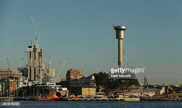 The harbour control tower at Barangaroo is seen on July 4 2014 in Sydney Australia Barangaroo is an inner city suburb of Sydney historically used for...