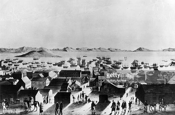 The harbour of San Francisco during the California Gold Rush when its population was around 25000