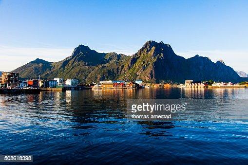 The harbour of Svolvaer in Lofoten, Norway : Stock Photo