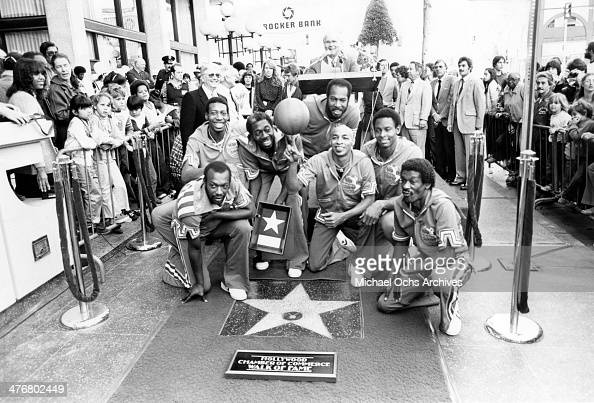 The Harlem Globetrotters are presented a star on the Hollywood 'Walk of Fame' on the 6900 block of Hollywood Boulevard circa 1982 in Los Angeles...