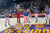 The Harlem Globetrotters perfom during the McDonald's AllStar Celebrity Game on center court during NBA Jam Session Presented by Adidas on February...