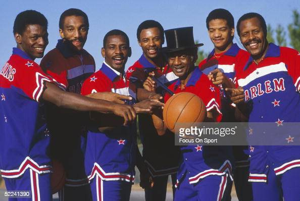 The Harlem Globetrotters pose for the camera