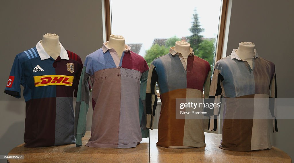 The Harlequins 2016/17 home kit is presented alongside vintage playing shirts during the Harlequins 150th Season Launch at Hampstead Cricket Club on July 1, 2016 in London, England.