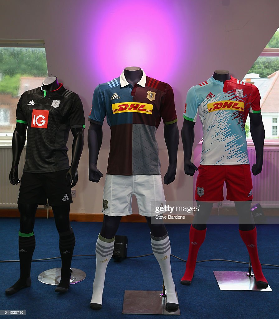 The Harlequins 2016/17 training, home and away kit is presented during the Harlequins 150th Season Launch at Hampstead Cricket Club on July 1, 2016 in London, England.