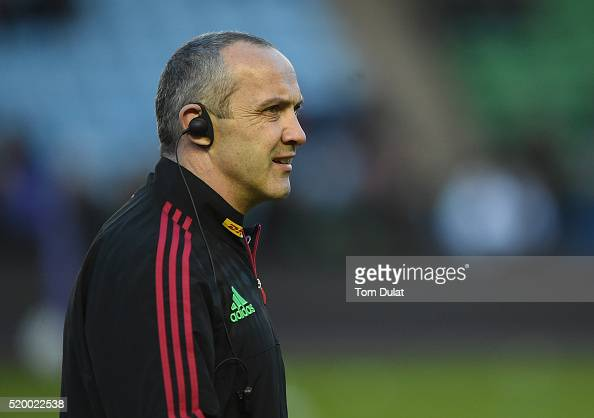 The Harlequins director of rugby Conor O'Shea looks on prior to the European Rugby Challenge Cup Quarter Final match between Harlequins and London...